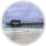 Round Beach Towel featuring the photograph Newport Pier by Jeremy Farnsworth