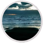 Round Beach Towel featuring the photograph Newport Sunset by Jerry Sodorff