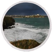 Newquay Squalls On Horizon Round Beach Towel