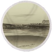 Newquay With Old Watercolor Effect  Round Beach Towel by Nicholas Burningham