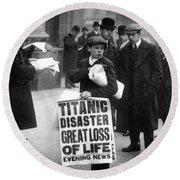 Newsboy Ned Parfett Announcing The Sinking Of The Titanic Round Beach Towel
