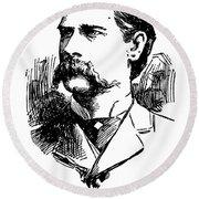 Round Beach Towel featuring the mixed media Newspaper Image Of Wyatt Earp 1896 by Daniel Hagerman