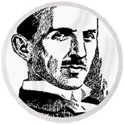 Round Beach Towel featuring the digital art Newspaper Nikola Tesla  by Daniel Hagerman
