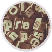 Newsprint Journalism Round Beach Towel