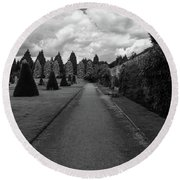 Round Beach Towel featuring the photograph Newstead Abbey Country Garden Gravel Path by Scott Lyons