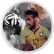 Neymar 051a Round Beach Towel