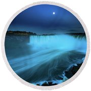 Niagara Falls And Moon  Round Beach Towel