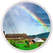 Niagara Falls And Welcome Centre With Rainbow Round Beach Towel by Charline Xia