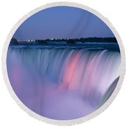 Niagara Falls At Dusk Round Beach Towel