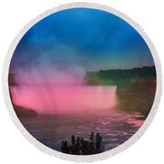 Niagara Falls At Night Round Beach Towel