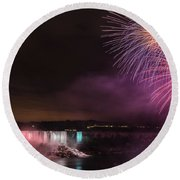 Niagara Falls Fourth Of July Round Beach Towel by Brenda Jacobs