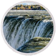 Niagara Falls In Autumn Round Beach Towel