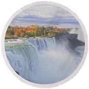 Niagara Falls In Autumn Round Beach Towel