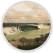 Round Beach Towel featuring the photograph Niagara Falls by Mary Machare