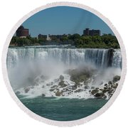 Niagara Falls, New York Round Beach Towel by Brenda Jacobs