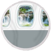Niagara Falls Porthole Windows Round Beach Towel