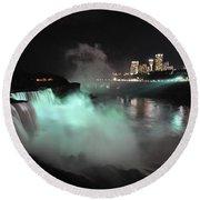Niagara Night Lights Round Beach Towel by Gina Savage