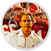Nick Saban Roll Tide Two Round Beach Towel