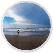 Nicki At Port Aransas Round Beach Towel