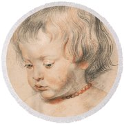 Nicolaas Rubens Wearing A Coral Neckless Round Beach Towel