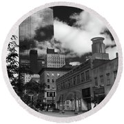 Nicollet Mall Minneapolis Black White Round Beach Towel