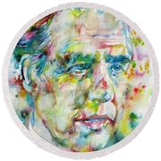 Round Beach Towel featuring the painting Niels Bohr - Watercolor Portrait by Fabrizio Cassetta