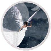 Night Angel Round Beach Towel