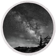 Night At The Station Round Beach Towel