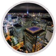 Night At Tokyo Metropolitan Government Building Round Beach Towel