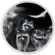 Night Bandits Round Beach Towel by Carol Cavalaris