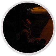 Night Boy Round Beach Towel
