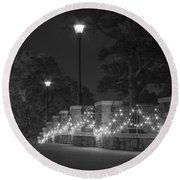 Night Bridge In December Round Beach Towel