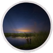 Night Brush Fire In The Everglades Round Beach Towel