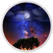 Round Beach Towel featuring the photograph Night Colors by Justin Kelefas