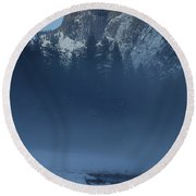 Night Falls Upon Half Dome At Yosemite National Park Round Beach Towel