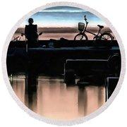 Night Fisherman Round Beach Towel