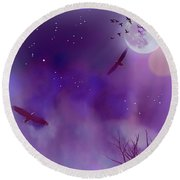 Night Flight Dream Round Beach Towel