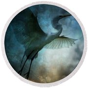 Night Flight Of The Great Egret Round Beach Towel by Maria Urso