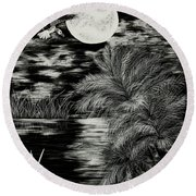 Night Flight Round Beach Towel by Terri Mills