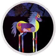 Night Foal Round Beach Towel by Bob Coonts