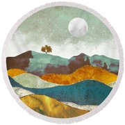 Night Fog Round Beach Towel