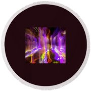 Night Fountain  Round Beach Towel