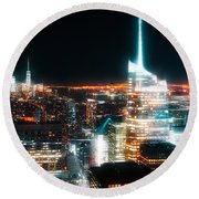 Round Beach Towel featuring the mixed media Night Glow New York City by Dan Sproul