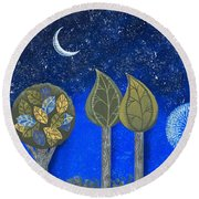 Night Grove Round Beach Towel