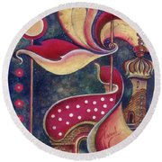 Round Beach Towel featuring the painting Night In The City Of Gods by Anna Ewa Miarczynska