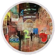 Round Beach Towel featuring the photograph Night In The City by Susan Stone