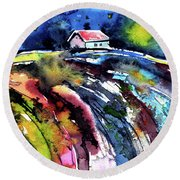 Round Beach Towel featuring the painting Night by Kovacs Anna Brigitta
