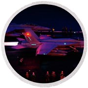 Round Beach Towel featuring the photograph Night Launch - Uss Kitty Hawk by Tim Beach