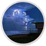 Night Lightning Under Full Moon Over Hobe Sound Beach, Florida Round Beach Towel