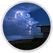 Round Beach Towel featuring the photograph Night Lightning Under Full Moon Over Hobe Sound Beach, Florida by Justin Kelefas